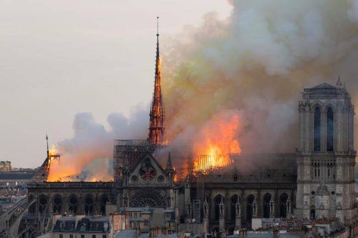 Notre Dame Roof on Fire